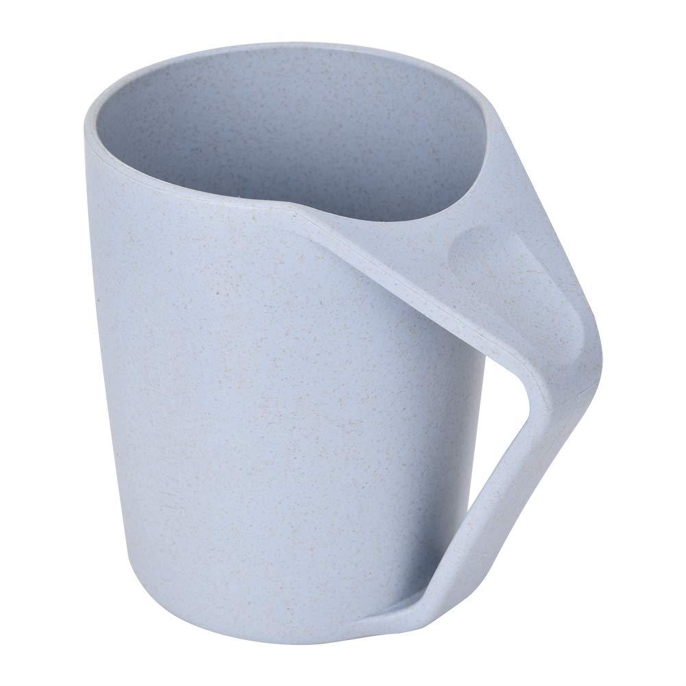 ネックレット不可能な組み合わせ健康的な小麦わらの歯カップ水飲むマグ(青)
