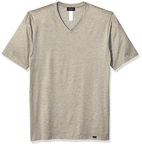 Hanro Herren Sporty Stripe Short Sleeve V-Neck Shirt Unterhemd, Grün gestreift, Small