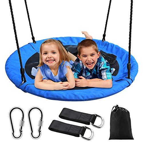 """Saucer Tree Swing, Outdoor Nest Swing for Kids, 40"""" Large Round Saucer Swing 900D Oxford 700 lbs Weight Capacity 2 Height Adjustable Straps & 2 Carabiners, Accessories Set Included Easy Installation"""