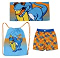 Toddler Boy Swim Essentials - 3 Piece 48 Inch Towel Beach Bag and Swim Suit Set