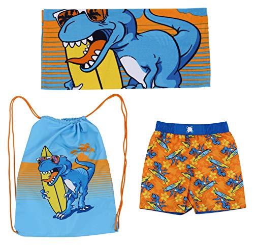 Dreamwave niños dinosaurio swim esencial - toalla de playa y bolsa de tronco de nadada del traje de baño junta corto bañador 3t