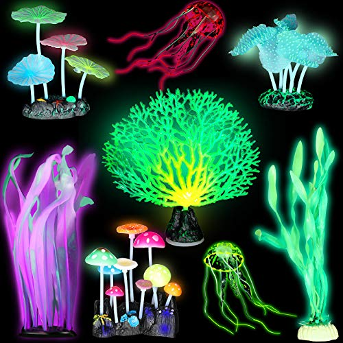 Frienda 8 Pieces Glowing Fish Tank Decorations Plants with 2 Style Glowing Kelp, Sea Anemone, Simulation Coral, Jellyfish, Lotus Leaf, Mushroom for Aquarium Fish Tank Glow Ornament