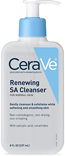 CeraVe Salicylic Acid Cleanser | 8 Ounce | Renewing Exfoliating Face Wash with Vitamin D for Normal Skin | Fragrance ...