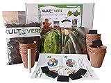 KULTIVERI Set de Cultivo de Lechugas y Calabacines: Macetas de Germinación Biodegradables. CREA tu Propio Huerto en Casa.