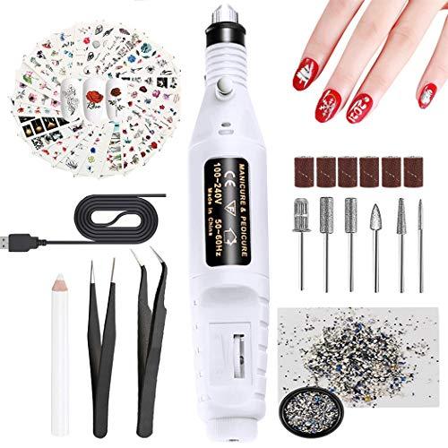 Lima de uñas eléctrica, JUSTDOLIFE Kit de Manicura Eléctrico, Torno para uñas USB...