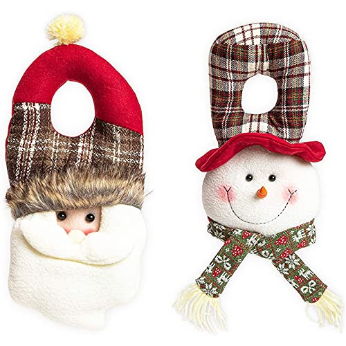 Christmas Door Knob Hanger for Front Door, Santa and Snowman (Buffalo Plaid, 2 Pieces)