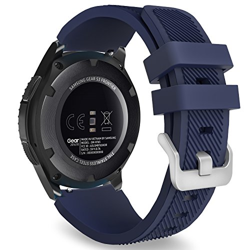 MoKo Correa para Galaxy Watch 3 45mm/Galaxy Watch 46mm/Gear S3 Frontier/Classic/Huawei Watch GT2 Pro/GT2e/GT 46mm/GT2 46mm/Ticwatch Pro 3-22mm Banda Deportiva Silicona Reemplazo - Azul Medianoche