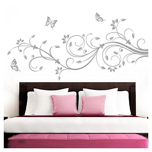 Grandora Wandtattoo XXL Blumenranken Schmetterlinge Blumen I Silbergrau (BxH) 90 x 39 cm I Schlafzimmer Liebe Flur Wohnzimmer modern Aufkleber Wandaufkleber W1073