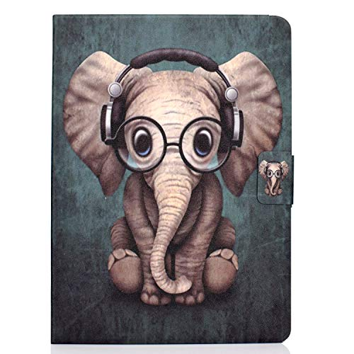 Case For Samsung Galaxy Tab S6 Lite 10.4 Inch Tablet 2020 Release Model SM-P610 (Wi-Fi) SM-P615 (LTE) Cute Patterned Shockproof Case with Anti-slip Stand 2 Card Slots Cover 2020 Musical Elephant