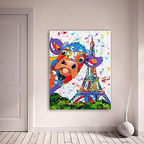 Vrolijk Schilderij Wall Art Canvas Schilderij Dier Koe Effiel Toren Foto Prints Home Decor C 75x100cm Zonder Frame