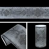 Yifely Gray Floral Wallpaper Border Peel and Stick Bathroom Kitchen Tile Decor Waterproof Stickers