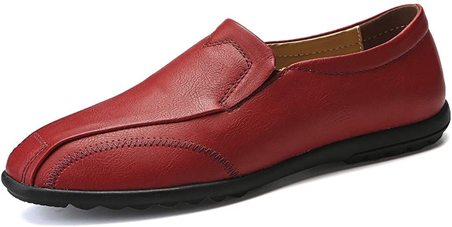 2018 Men's Business Oxford Casual Light Soft Leather Breathable One Foot Pedal Lofer (color  Brown, Size  45 EU) (color   Red, Size   47 EU)