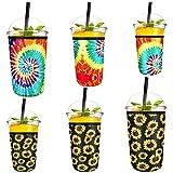 Luckits - Soporte para vasos de neopreno, reutilizable, de 6 piezas, reutilizable, para café helado, ideal para Starbucks,...