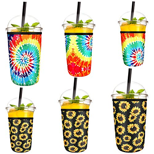 Luckits 6 Pieces Reusable Iced Coffee Sleeve Insulator Cup Sleeve Neoprene Cup Holder Drinks Sleeve Holder Ideal for Starbucks, McDonalds, Dunkin Donuts fit 16-32oz Cups