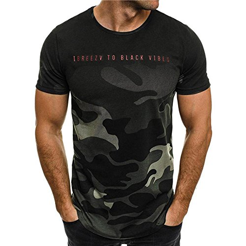 Camiseta para Hombre,VPASS Verano Manga Corta Impresión Camuflaje Moda Diario Slim Fit Casual T-Shirt Blusas Camisas Camiseta Jaspeada de Cuello Redondo Suave básica Camiseta Chándal de Hombres