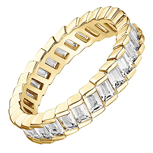 PAVOI 14K Gold Plated Cubic Zirconia Baguette Cut Eternity Bands Yellow Gold for Women Size 7