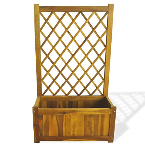 Wood Garden Bed Planter with Trellis, Solid Acacia Wood Fence with Storage Decorative Lattice Flower Plant Holder Organizer for Garden Patio Terrace,39.4X23.7 X 11.1 inch