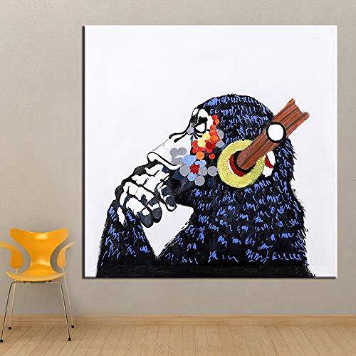 N / A Murale Moderno Animale Pittura a Olio di Orangutan Decorazione murale Arte Soggiorno Foto Decorazione della casa Tela Pittura (Stampa Senza Cornice) B 40x80 cm