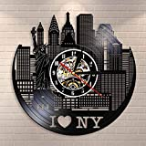 YINU New York Cityscape Reloj de Pared silencioso Moderno Re