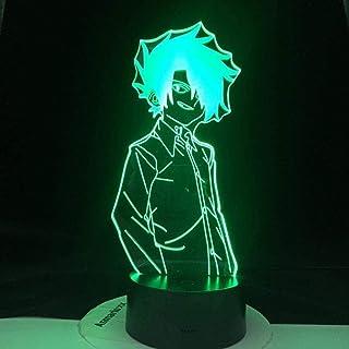 Tatapai Luz de noche 3D The Promised Neverland Emma Figura de Manga japonesa Luz de noche LED para la habitación del hogar Lámpara de mesa de noche para niños y niños -