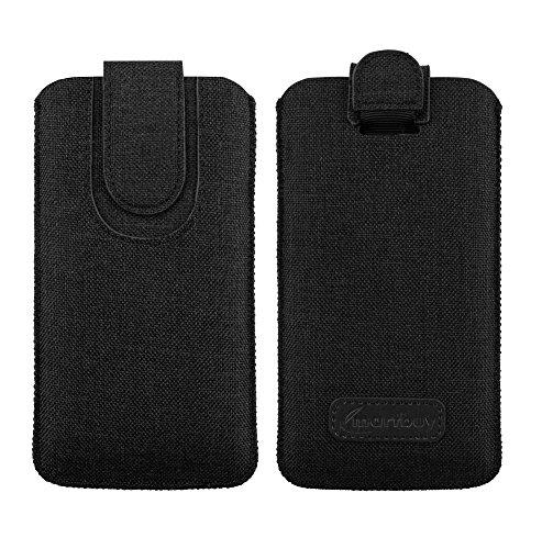 Emartbuy Scuro Grigio qualità Textured Tessuto Custodia Case Cover Sleeve (Size LM4) con Linguetta Compatibile con Smartphone Elencati sotto