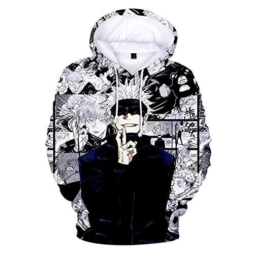 ZOSUO Anime Kleidung Jujutsu Kaisen Cosplay Streetswear Kapuzenpullover Kapuzenpulli Oberteile Langarmshirts Gojo Satoru Cosplay Hoodie Pullover,M