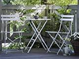Modernes Balkonset Tisch mit 2 Stühlen aus Stahl weiß Fiori