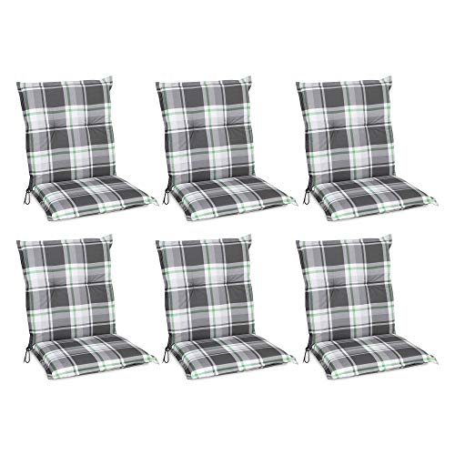 Beautissu Set de 6 Cojines para sillas de Exterior y jardín con Respaldo bajo Sunny MK Verde Menta 100x50x6 cm tumbonas, mecedoras, Asientos cómodo Acolchado Resistente a Rayos UV