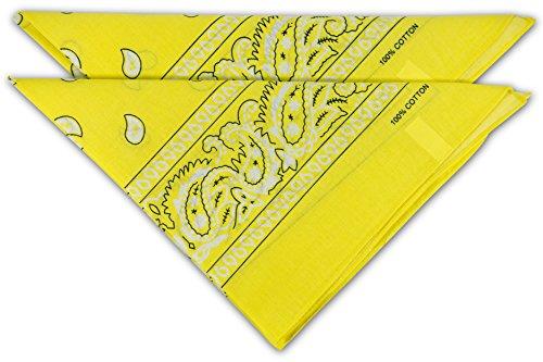 fashionchimp ® Nicki-Halstuch aus 100% Baumwolle im 2er Set, Unisex Bandana, AZO-Frei (Gelb)