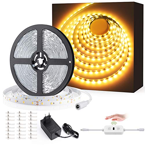 12M Tiras LED Regulables 24V, Ustellar 720 LEDs Clips 3600lm, Tira LED Luz Blanco Calido 3000K, LED Mano Sensor Movimiento...
