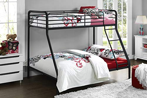 DHP Bed, Metal, Black, Single over Double