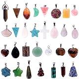 CALISTOUK 30 Pieces Colgantes de Piedra de curación Irregulares Encantos de Cristal Chakra Rosario para fabricación de Joyas de Collar DIY Color Surtido