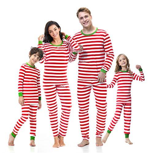 Benaive Matching Family Christmas Pajamas Set Boys Girls Holiday Pjs for Womens Mens Sleepwear (RedWhite,Striped, Men-Medium)