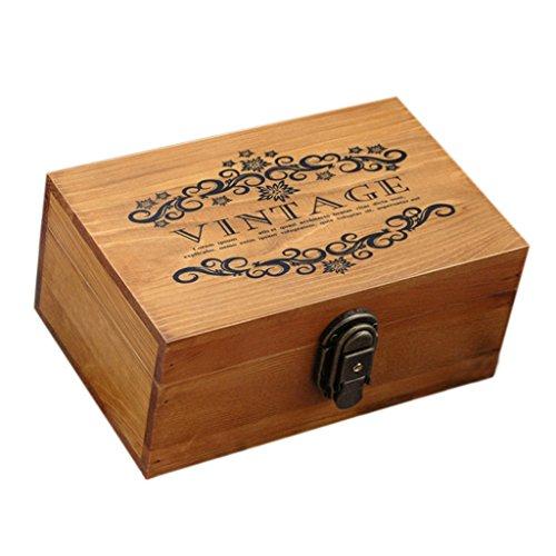 chiwanji Cajas de Joyería Antiguo con Bloqueo Metal y Llave Pecho Baratija Joyero de Madera Adornos para Mesa de Tocador, Comedor, Sala de Estar - Madera