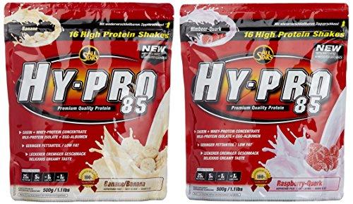 All stars Hy-Pro 85 Beutel 2er Mix Pack (2 x 500 g) Banane/Himbeer-Quark, 1er Pack (1 x 1 kg)