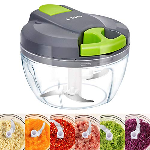Manual Food Chopper, 3 Blades Manual Pull String Food Processor, Hand held Pro Onion Chopper Dicer for Vegetables/Meat/Fruits