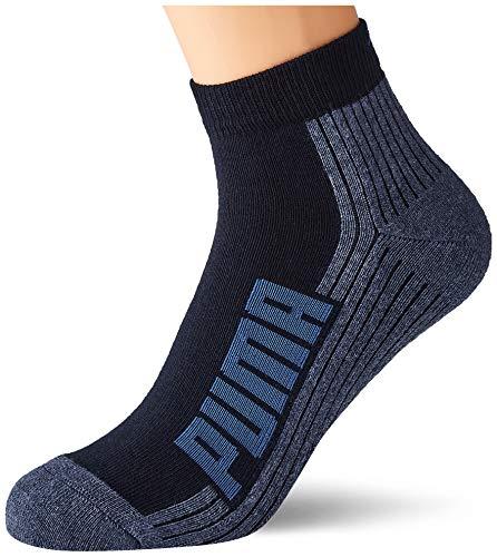 PUMA Bwt Cushioned Quarter Socks (2 Pack) Calzini, Blu Navy/Grigio/Blu Forte, 39-42 Unisex-Adulto