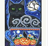 HZDXT ダイヤモンド絵画クロスステッチ絵画キット黒猫ダイヤモンド刺繡動物の家の装飾モザイクラインストーン写真40X 50Cn