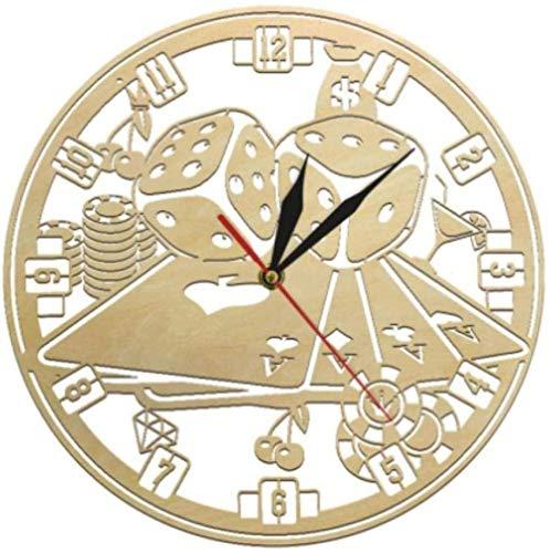Reloj de Pared Reloj de Pared Juego de fichas de póquer Naipes Dados Reloj de Pared de Madera Arte de Casino Reloj de Pared silencioso Sala de Juegos Decoración de Pared