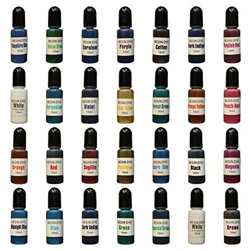 """Y-QUARTER Pigmento epóxi, corante de resina epóxi, 28 cores, resina epóxi, pigmento de difusão, tinta alcoólica, corante líquido, para artesanato """"faça você mesmo"""", acessórios para fabricação de joias"""