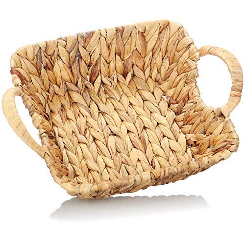com-four® Deko Korb mit Henkel - Hochwertiger Aufbewahrungskorb aus geflochtenen Maisblättern - Körbchen zur Aufbewahrung und Dekoration
