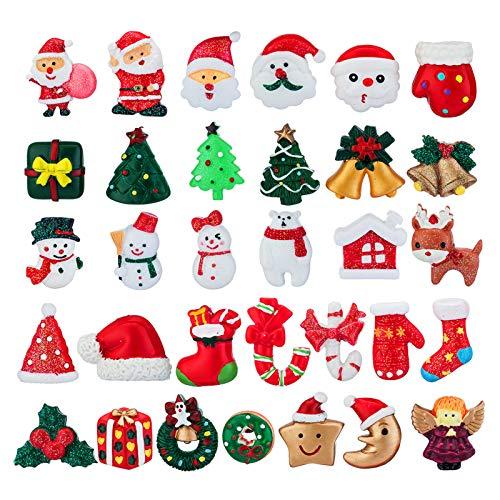 32 Pieces Mini Christmas Ornaments, Resin Tiny Christmas Figurines Angel, Santa, Christmas Trees, Snowman for Xmas Decoration