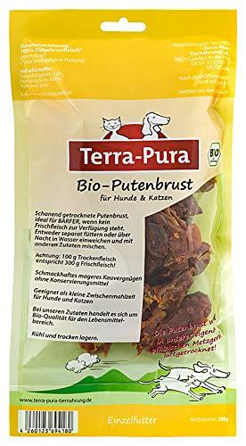 TERRA-PURA Tiernahrung Bio-Putenbrust, getrocknet, Snack für Hunde und Katzen, Ideal für Barfer, 200 g, Aktion Kaufe 2 - Erhalte 3!!!!