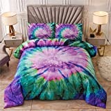 NTBED Tie Dye Printed Comforter Set Twin for Kids Teens Multi Trippy Boho Bedding Hippie Quilt Bed Sets (Purple, Twin)