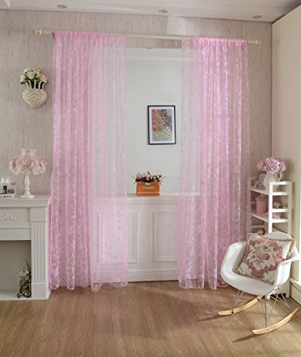 Beflockung Schmetterling Transparente Vorhang Fenster Tuell Teiler Rosa 100 * 200cm