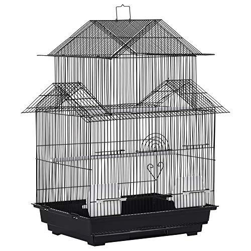 Pawhut Jaula para Pájaros de Metal Pajarera con Bandeja Extraíble para Canarios 2 Comederos y Perchas Pinzones Periquitos 51x40x67 cm Negro