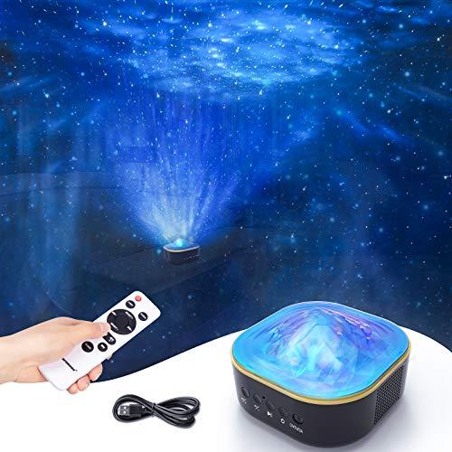 Colorsmoon - Proiettore LED con proiettore a forma di cielo stellato, con funzione timer e telecomando, proiettore a forma di stella per bambini, idea regalo/sala giochi/home cinema/camera da letto