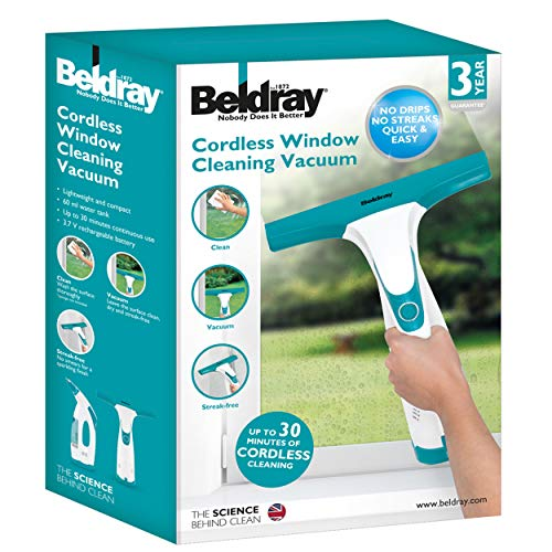 Beldray BEL0749 Cordless Rechargeable Window Vacuum Cleaner, 5 W, White