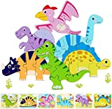 Wooden Dinosaur Toddler Puzzles for 1 2 3 Years Old, Educational Toys Gift for Boys and Girls (6 Pack), Preschool Version Jurassic World.