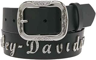 Harley-Davidson Women's Embellished Scriptal Font Leather Belt HDWBT10906-BLK